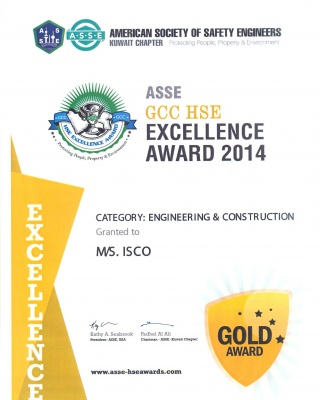 ASSE Award 2014 - ISCO - Integral Services Co. for Mechanical Contracting & Instrumentation WLL - Multi Disciplinary Contractor in Kuwait