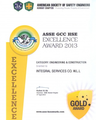 ASSE GCC HSE Excellence Award 2013 - ISCO - Integral Services Co. for Mechanical Contracting & Instrumentation WLL - Multi Disciplinary Contractor in Kuwait