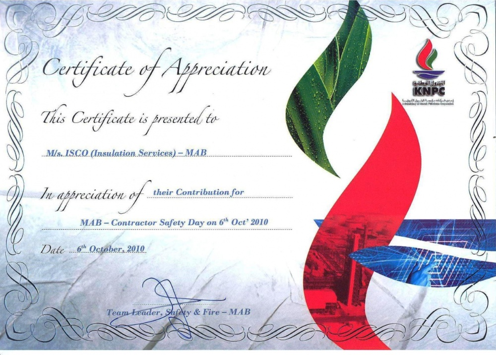 Certifications of ISCO - Integral Services Co. for Mechanical ...