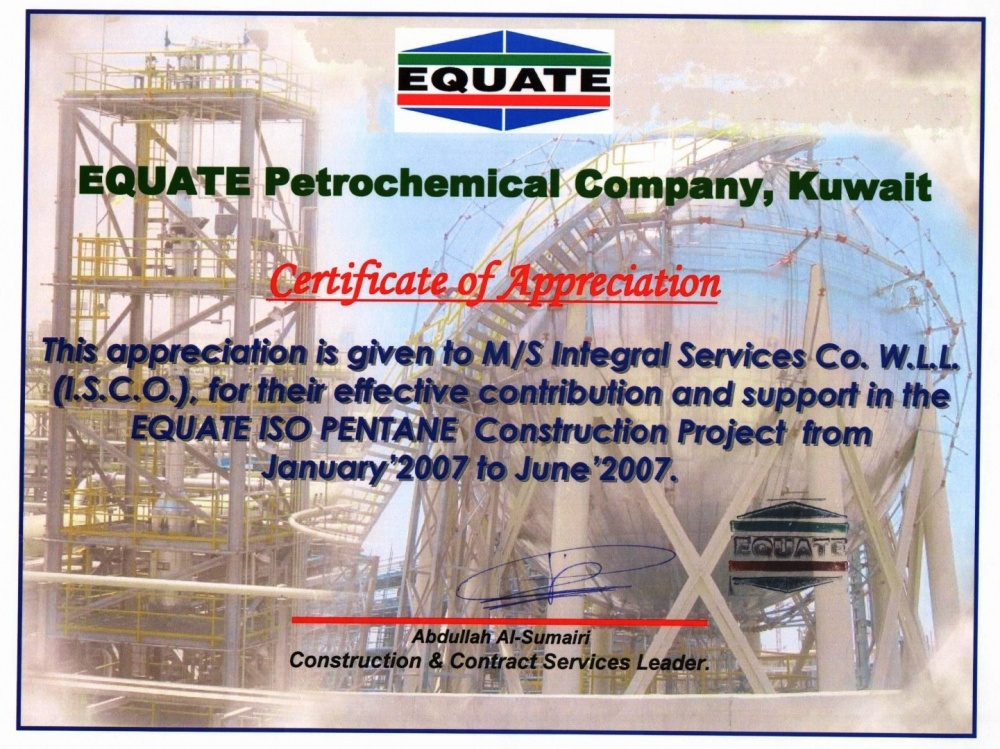 Certifications of ISCO - Integral Services Co  for