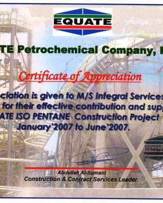 Equate - Apreciation - ISCO - Integral Services Co. for Mechanical Contracting & Instrumentation WLL - Multi Disciplinary Contractor in Kuwait
